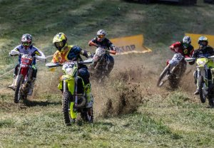 five motorbikes during a race