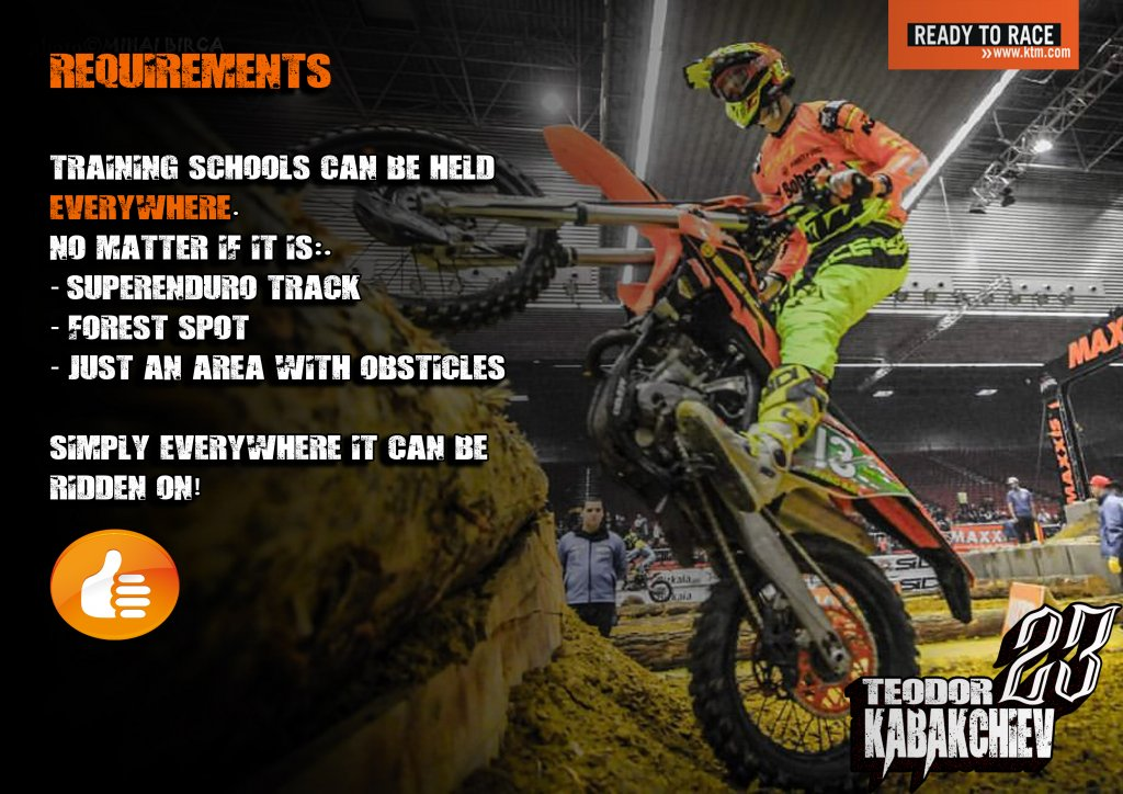 requirements for training schools Enduro-ride Bulgaria Enduro Tours Bulgaria Teodor Kabakchiev KTM