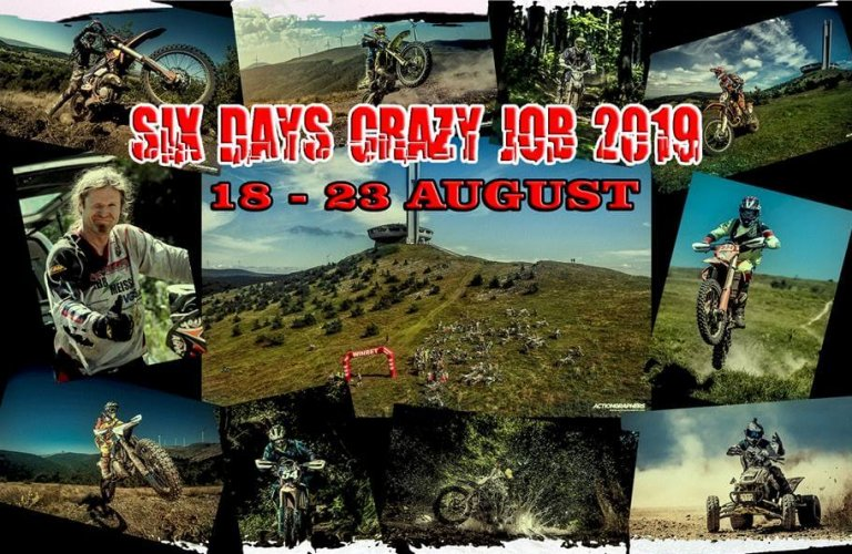 six days crazy job enduro race poster